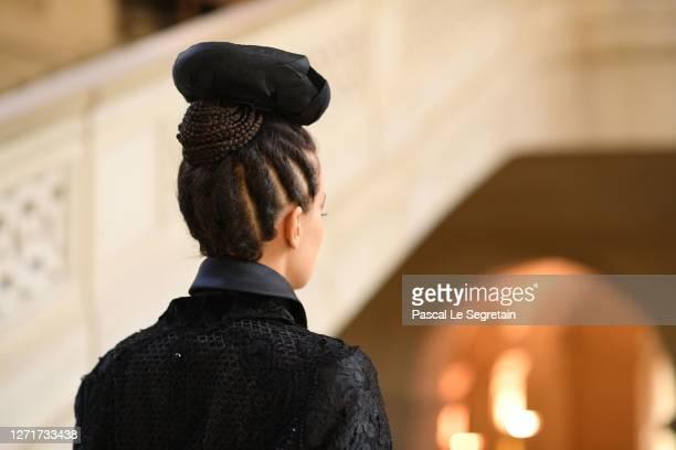 """Jeade Pasquier, La commedia character poses for the """"u201cIl Medico Della Peste""""u201d- 2020/2021 Winter Franck Sorbier Haute Couture Maitre..."""