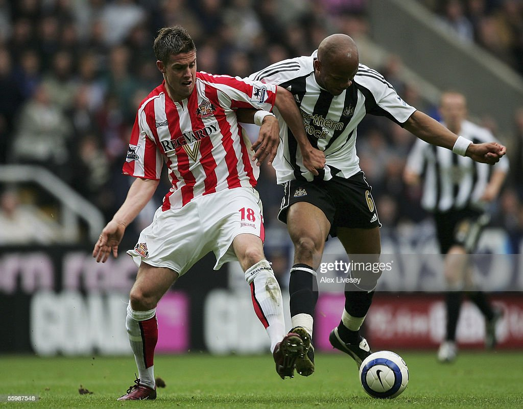 Jean Alain Boumsong of Newcastle United holds off a challenge from Andy Gray of Sunderland during the Barclays Premiership match between Newcastle United and Sunderland at St James' Park on October 23, 2005 in Newcastle, England.