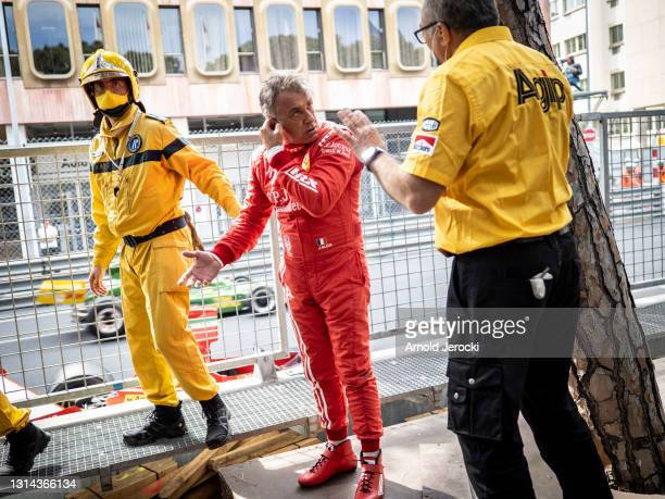 Jean Alesi after the crash with Marco Werner during the 12th edition of the Historic Monaco Grand Prix on April 25, 2021 in Monaco, Monaco.