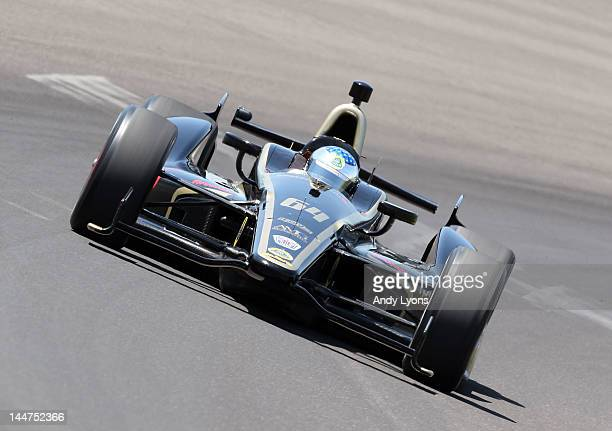 Jean Alesi drives the Lotus FP Journe Fan Force United car during Indianapolis 500 practice at Indianapolis Motor Speedway on May 18 2012 in...