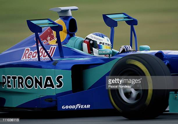 Jean Alesi drives the Red Bull Sauber Petronas Sauber C17 Petronas 30 V10 with the side winglets during practice for the Marlboro Grand Prix of...