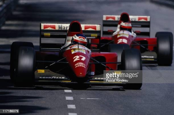 Jean Alesi drives the Scuderia Ferrari SpA Ferrari F93A ahead of his team mate Gerhard Berger during the Grand Prix of Monaco on 23rd May 1993 on the...