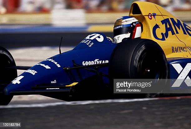 Jean Alesi drives the Tyrrell Racing Organisation Tyrrell 018 Ford Cosworth DFR 35 V8 to fourth place on his Grand Prix debut during the RhonePoulenc...