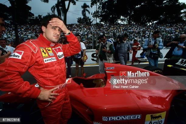 Jean Alesi, Ferrari 412T1, Grand Prix of Brazil, Autodromo Jose Carlos Pace, Interlagos, Sao Paolo, 27 March 1994. Jean Alesi on the starting grid of...