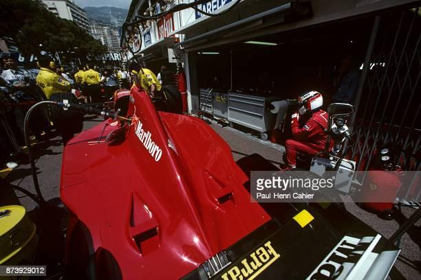 Jean Alesi, Ferrari 412T2, Grand Prix of Monaco, Circuit de Monaco, 28 May 1995. Jean Alesi in the pits, concentrating before going out for...