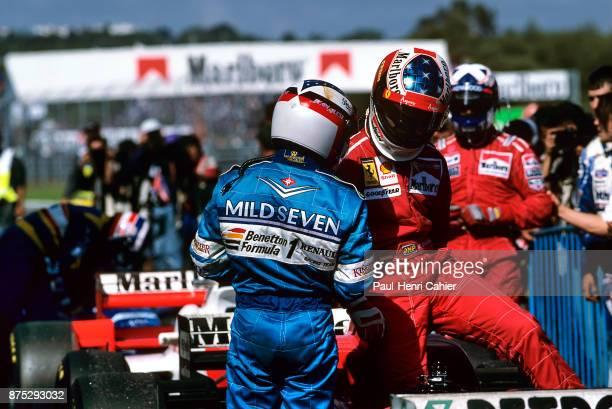 Jean Alesi, Michael Schumacher, Grand Prix of Portugal, Autodromo do Estoril, 22 September 1996. Jean Alesi and Michael Schumacher at the finish of...