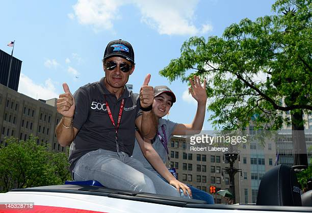 Jean Alesi of France driver of the Dallara Lotus during the Indianapolis 500 Festival Parade part of the 96th running of the Indianapolis 500 on May...