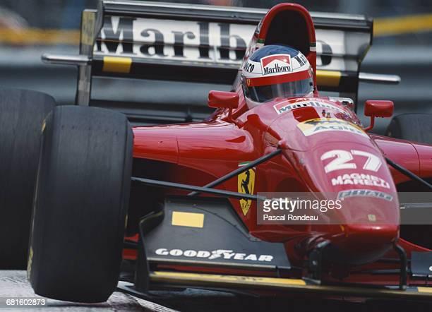 Jean Alesi of France drives the Scuderia Ferrari Ferrari 412T1 Ferrari V12 during practice for the Grand Prix of Monaco on 14 May 1994 on the streets...