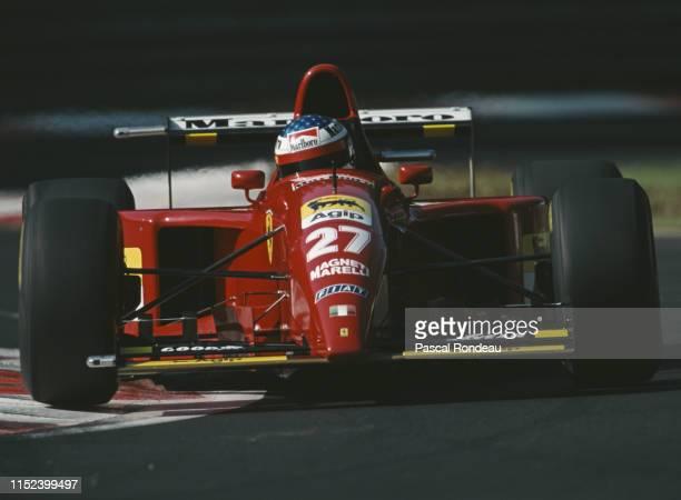 Jean Alesi of France drives the Scuderia Ferrari Ferrari 412T2 Ferrari V12 during the Italian Grand Prix on 10 September 1995 at the Autodromo...