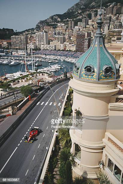 Jean Alesi of France drives the Scuderia Ferrari Ferrari 412T2 Ferrari V12 during practice for the Grand Prix of Monaco on 27 May 1995 on the streets...