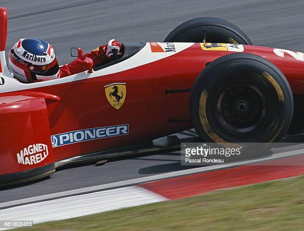 Jean Alesi of France drives the Scuderia Ferrari Ferrari F93A Ferrari 041 V12 during practice for the Yellow Pages South African Grand Prix on 13...