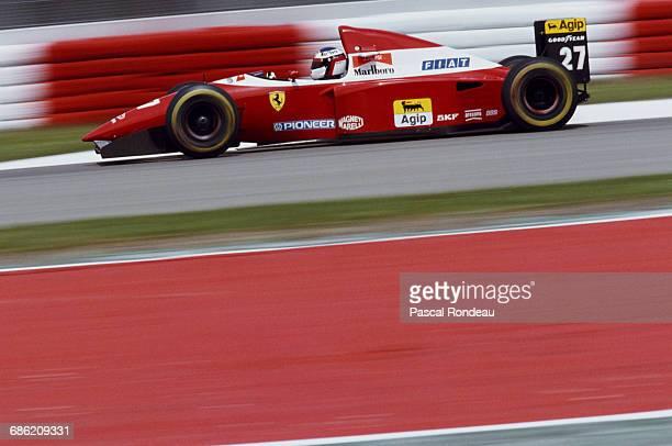 Jean Alesi of France drives the Scuderia Ferrari Ferrari F93A Ferrari 041 V12 during the San Marino Grand Prix on 25 April 1993 at the Autodromo Enzo...