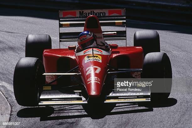 Jean Alesi of France drives the Scuderia Ferrari Ferrari F93A Ferrari 041 V12 during the Grand Prix of Monaco on 23 May 1993 on the streets of the...