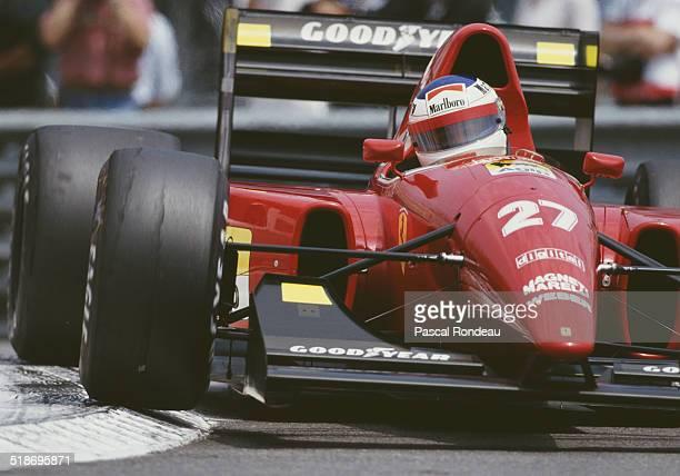 Jean Alesi of France drives the Scuderia Ferrari SpA Ferrari F92A Ferrari V12 during practice for the Grand Prix of Monaco on 30th May 1992 on the...
