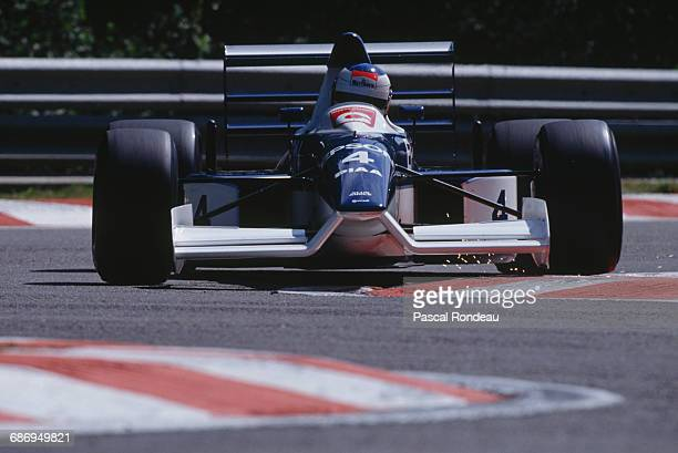 Jean Alesi of France drives the Tyrrell Racing Organisation Tyrrell 019 Ford Cosworth DFR V8 during practice for the Belgian Grand Prix on 26 August...