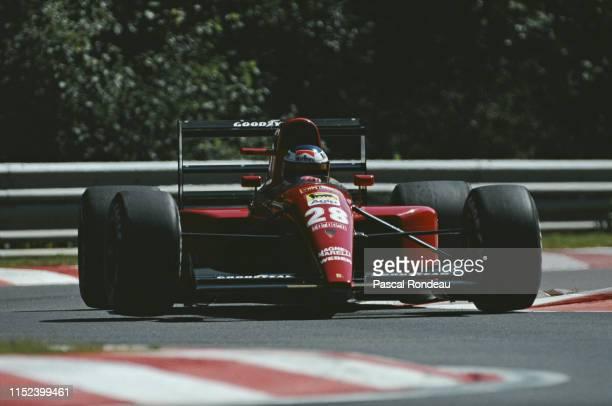 Jean Alesi of France driving the Scuderia Ferrari SpA Ferrari F92A Ferrari V12 during practice for the Belgian Grand Prix on 24 August 1991 at the...