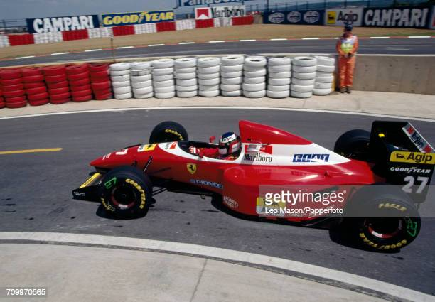 Jean Alesi of France in action driving a Ferrari F93A with a Ferrari V12 engine for Team Scuderia Ferrari during the South African Grand Prix at...