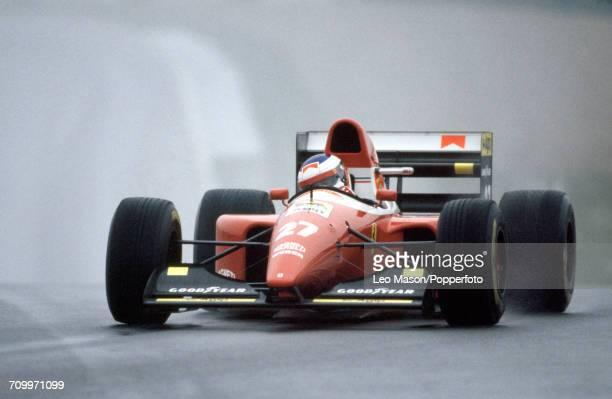 Jean Alesi of France in action driving a Ferrari F93A with a Ferrari V12 engine for Team Scuderia Ferrari during the European Grand Prix at Donington...