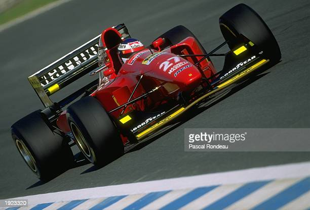 Jean Alesi of France in action in his Fiat Ferrari during the European Grand Prix at the Jerez circuit in Spain Alesi finished in tenth place...
