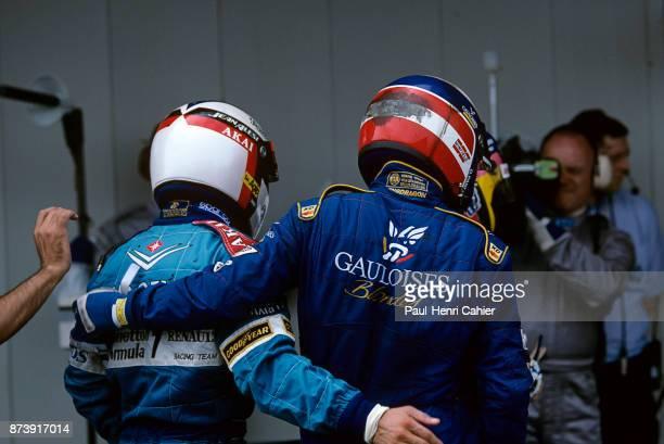 Jean Alesi, Olivier Panis, Grand Prix of Spain, Circuit de Barcelona-Catalunya, 25 May 1997. Olivier Panisi and fellow countryman Jean Alesi at the...