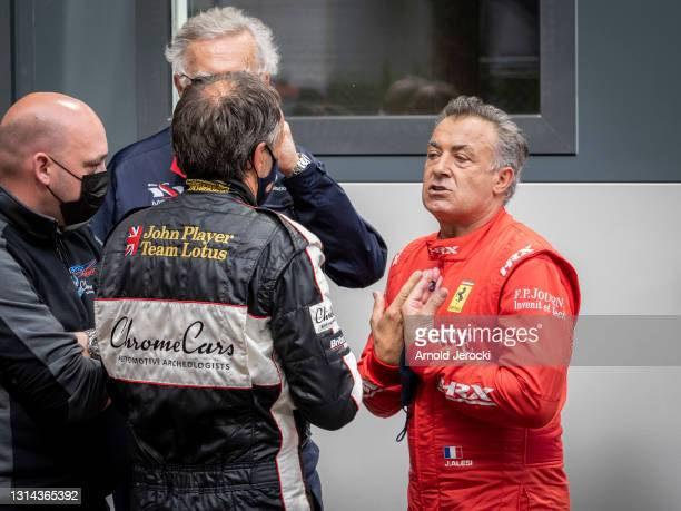 Jean Alesi speaks with Marco Werner after a crash during the 12th edition of the Historic Monaco Grand Prix on April 25, 2021 in Monaco, Monaco.