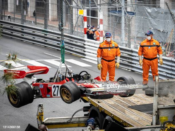 Jean Alesi's car is seen after the crash with Marco Werner during the 12th edition of the Historic Monaco Grand Prix on April 25, 2021 in Monaco,...