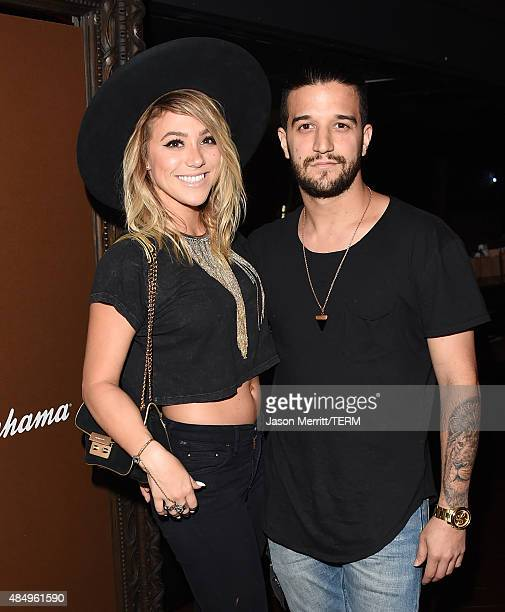 Jean and Mark Ballas attend a private event at Hyde Staples Center hosted by Tommy Bahama during the Taylor Swift concert on August 22 2015 in Los...