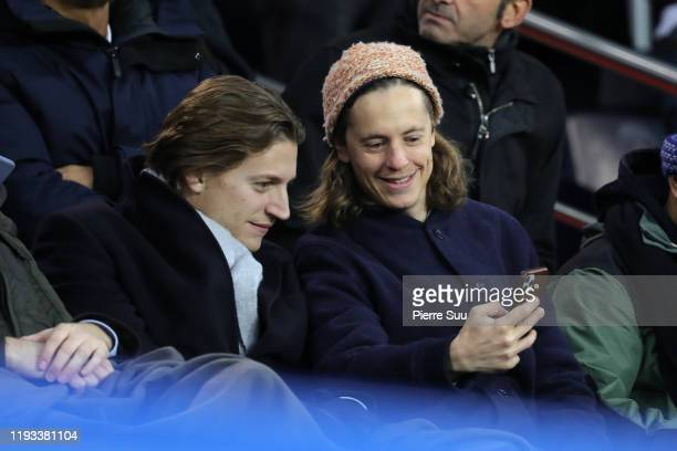 Jean and Pierre Sarkozy are seen during the UEFA Champions League group A match between Paris SaintGermain and Galatasaray at Parc des Princes on...