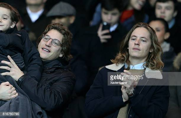 Jean and Pierre Sarkozy attend the French Ligue 1 match between Paris SaintGermain and AS Monaco at Parc des Princes on march 20 2016 in Paris France