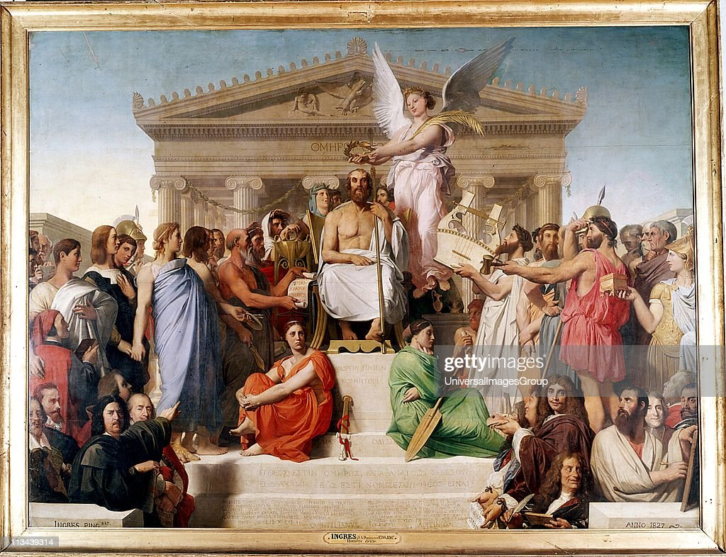 Jean Auguste Dominique Ingres ( 1780-1867) French Classical painter. 'The Apotheosis of Homer'. Homer (8th century BC) Ancient Greek epic poet. Homer surrounded by famous literary figures from Plutarch to Moliere. Louvre, Paris. : News Photo