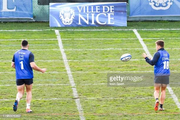 Jean Baptiste GROS and Louis CARBONEL of France during the training session of Men's French Rugby Team on January 22 2020 in Nice France
