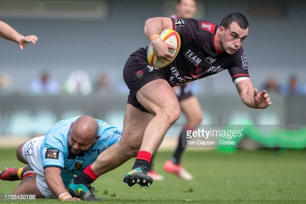 Jean Baptiste Gros of Toulon in action during the Perpignan V RC Toulon Top 14 regular season rugby match at Stade AimeGiral on March 3rd 2019 in...