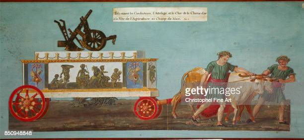 Jean Baptiste Lesueur Agriculture Day Festivities the golden plough chariot Gouache Paris Carnavalet Museum