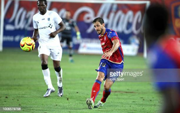Jean Baptiste Pierazzi of Gazelec during the Ligue 2 match between Gazelec Ajaccio and Paris FC at Stade Ange Casanova on July 27 2018 in Ajaccio...