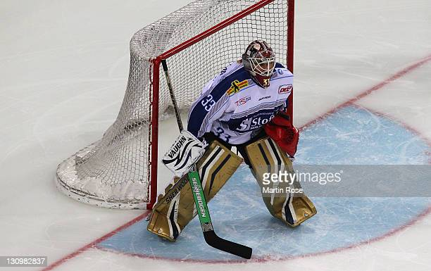 Jean Barry Brust goaltender of Straubing skates against the Hamburg Freezers during the DEL match between Hamburg Freezers and Straubing Tigers at...
