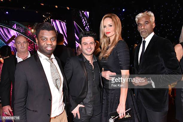 Jean Barthelemy Bokassa Gregory Bakian Adriana Karembeu and Satya Oblette attend the 'Top Model Belgium 2016' Ceremony at Le Lido on January 24 2016...