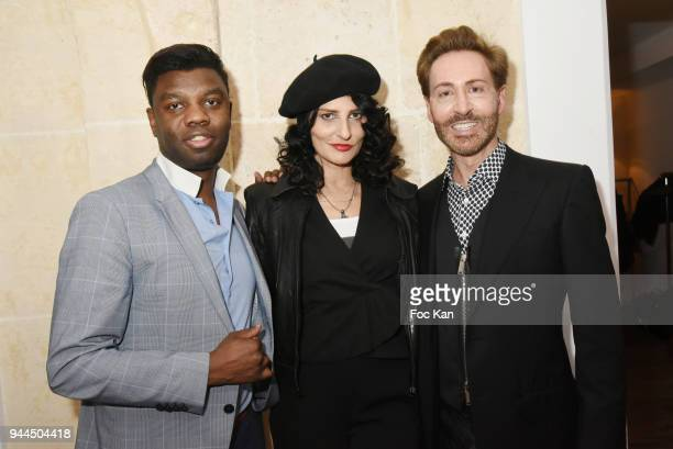 Jean Barthelemy Bokassa model/writer Sylvie Ortega Munos and Christian Bonnamour attend the 'Bel RP' 10th Anniversary at Atelier Sevigne on April 10...