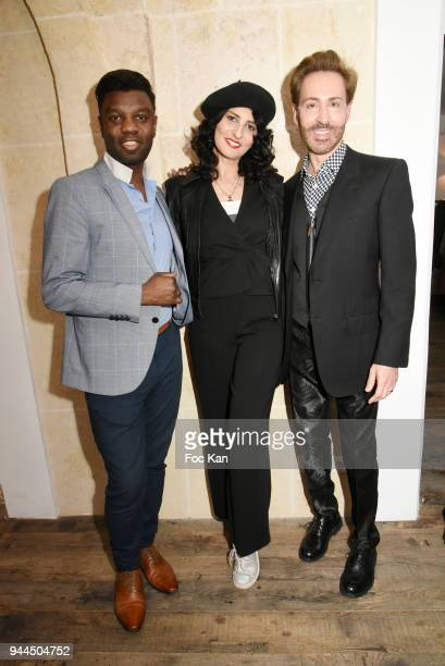Jean Barthelemy Bokassa model/writer Sylvie Ortega Munos and Christian Bonamour attend the 'Bel RP' 10th Anniversary at Atelier Sevigne on April 10...