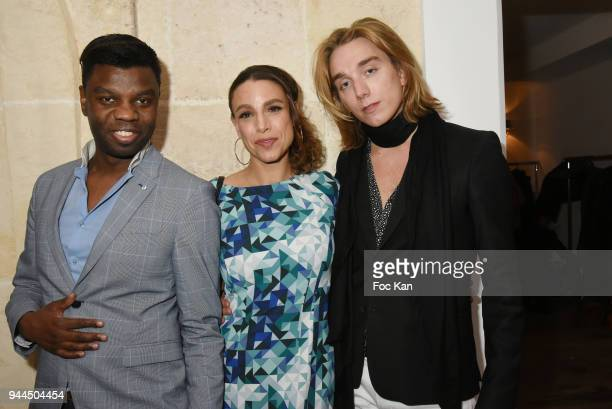 Jean Barthelemy Bokassa Sacha Lucas and Melchior Rothstein attend the 'Bel RP' 10th Anniversary at Atelier Sevigne on April 10 2018 in Paris France