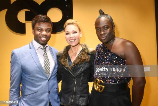 Jean Barthelemy Bokassa singer Indra and PR Antoine Schmidt attend the Red X BHV Marais Ephemere Boutique Launch Party on November 07 2019 in Paris...