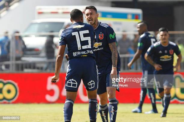Jean Beausejour and Mauricio Pinilla argue during a match between U de Chile and Colo Colo as part of Torneo Scotiabank 2018 at Estadio Nacional de...