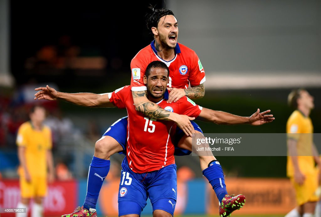 Jean Beausejour of Chile celebrates after scoring a goal during the 2014 FIFA World Cup Brazil Group B match between Chile and Australia at Arena Pantanal on June 13, 2014 in Cuiaba, Brazil.