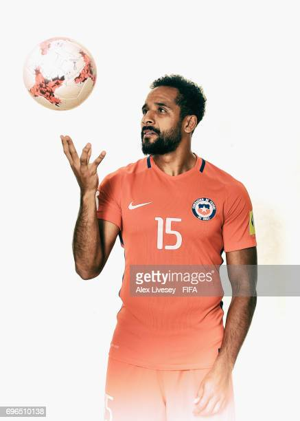 Jean Beausejour of Chile during a portrait session ahead of the FIFA Confederations Cup Russia 2017 at the Crowne Plaza Hotel on June 15 2017 in...