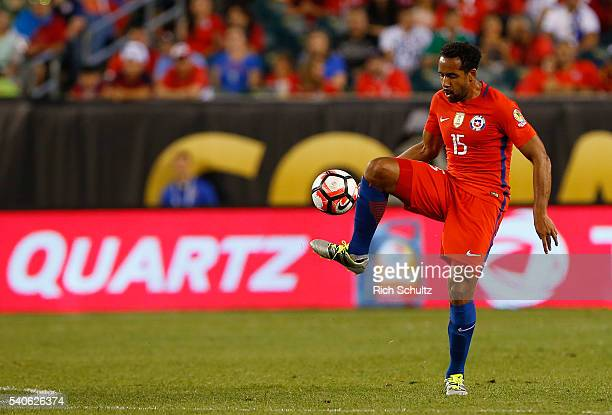 Jean Beausejour of Chile in action against Panama in the first half during the 2016 Copa America Centenario Group D match at Lincoln Financial Field...