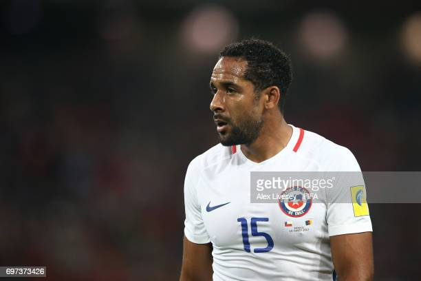 Jean Beausejour of Chile in action during the FIFA Confederations Cup Russia 2017 Group B match between Cameroon and Chile at Spartak Stadium on June...