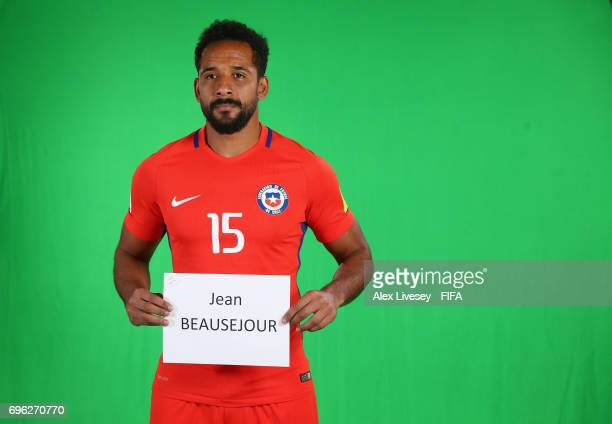 Jean Beausejour of Chile is seen behind the scenes during a filming session ahead of the FIFA Confederations Cup Russia 2017 at the Crowne Plaza...