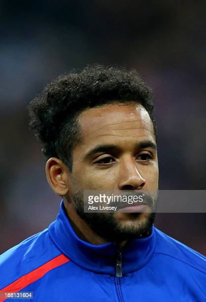 Jean Beausejour of Chile looks on prior to the international friendly match between England and Chile at Wembley Stadium on November 15 2013 in...