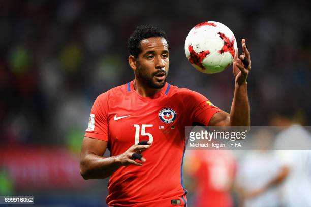 Jean Beausejour of Chile perpares to take a throw in during the FIFA Confederations Cup Russia 2017 Group B match between Germany and Chile at Kazan...