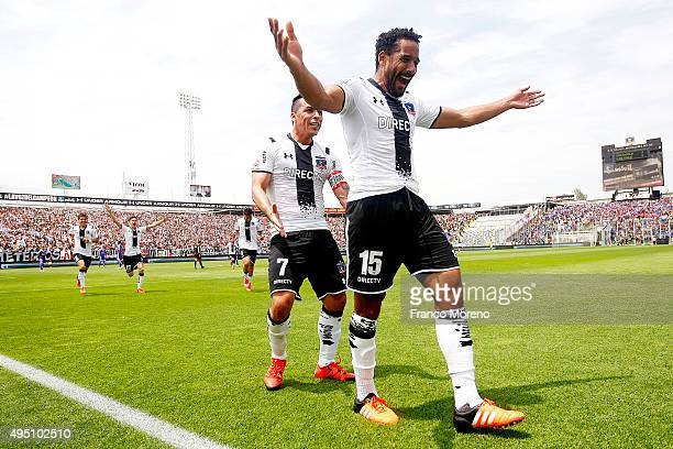 Jean Beausejour of Colo Colo celebrates after scoring the opening goal during a match between U de Chile and ColoColo as a part of 11 round of Torneo...