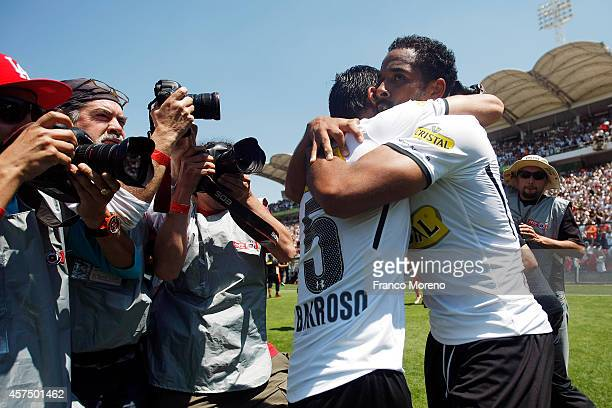 Jean Beausejour of ColoColo celebrates after scoring the second goal against U de Chile during a match between ColoColo and U de Chile as a part of...